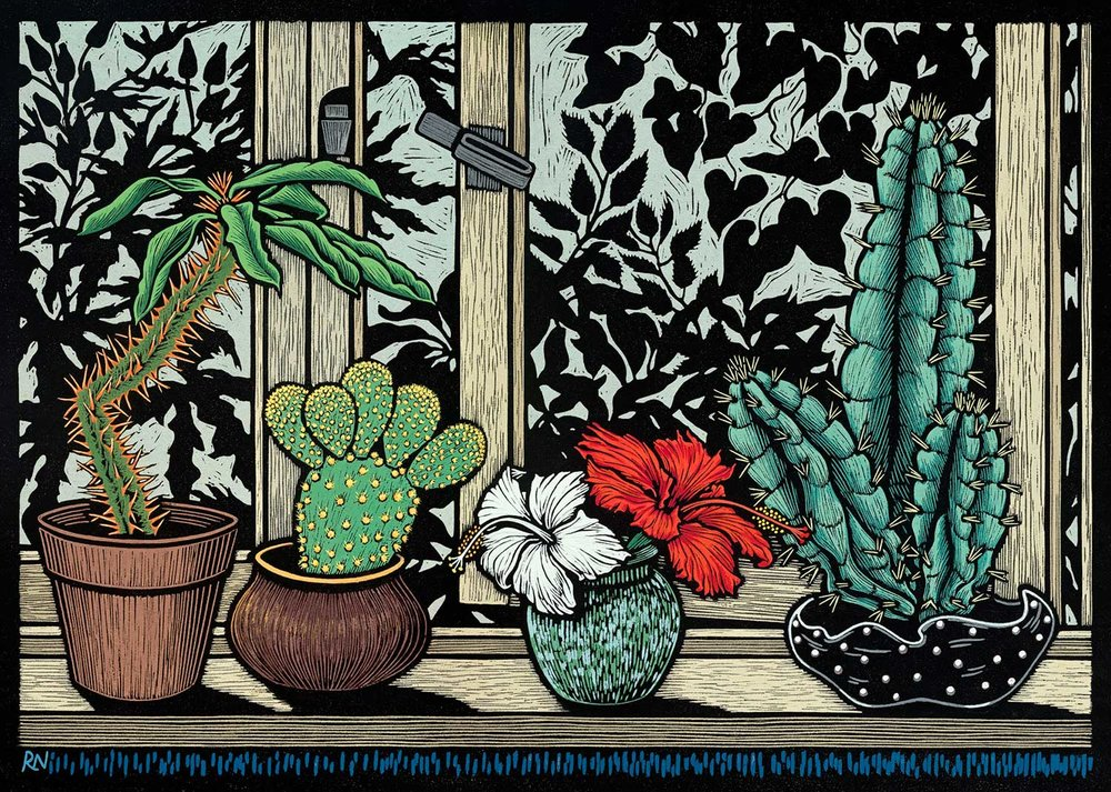 Windowsill  45 x 61 cm edition of 50  Hand coloured linocut on Unryu japanese paper  $1,250
