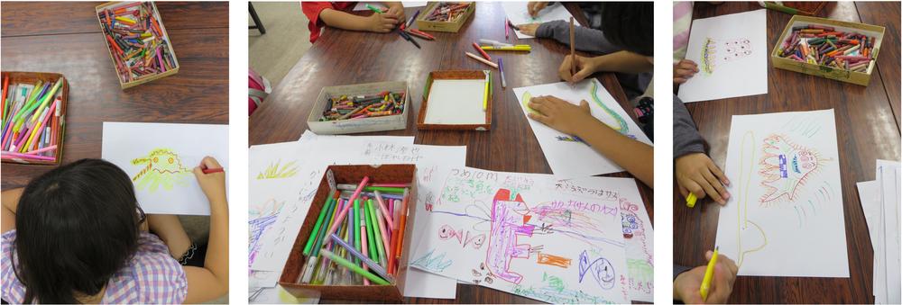 1ère séance de dessin avec les petits pendant la classe d'étude //  First drawing session with the little children from the after-school classe