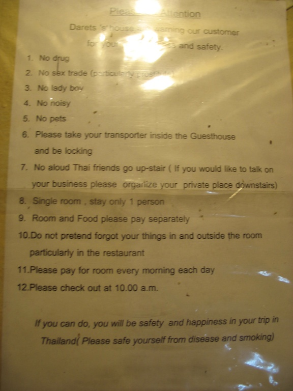 Safety instructions, Chang Mai, Thailand