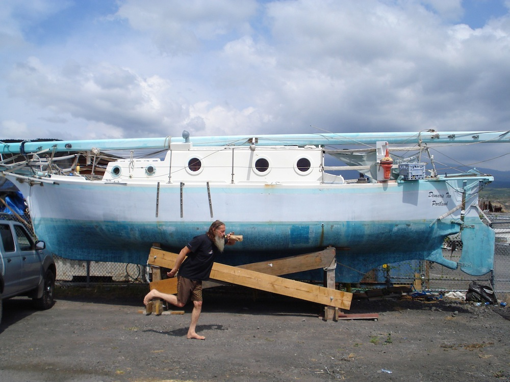 Caveman and his boat which he has lived on for 40 years!.jpg