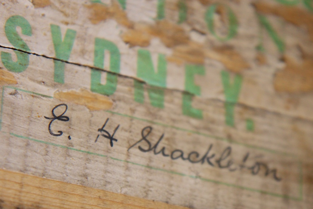Shackleton's signature on the end of his bed at his hut at Cape Royds..jpg