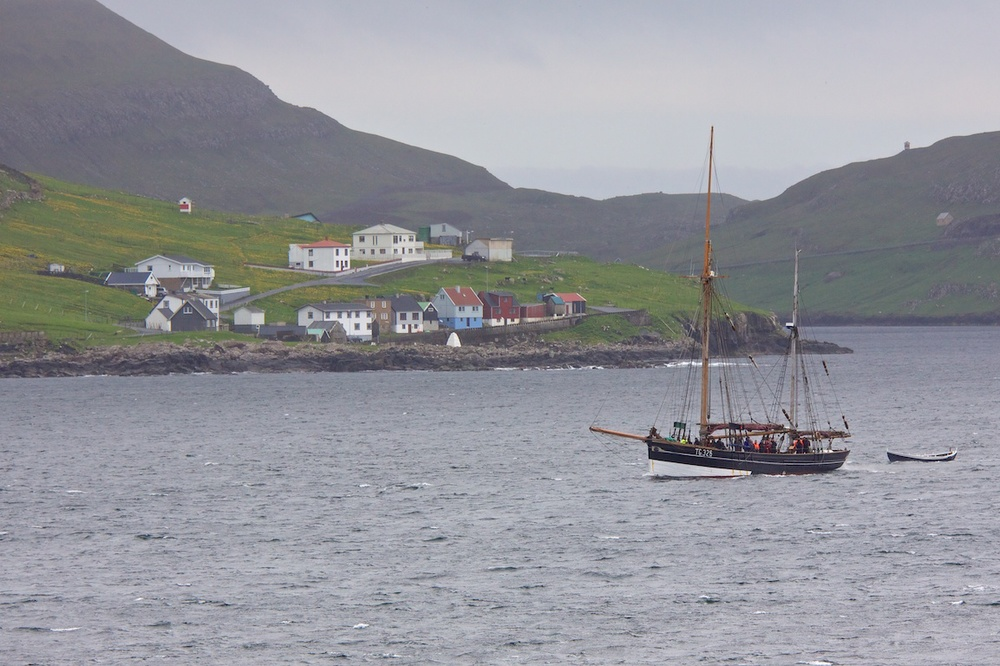 Coming into the port of Vágur in the Faroe Islands