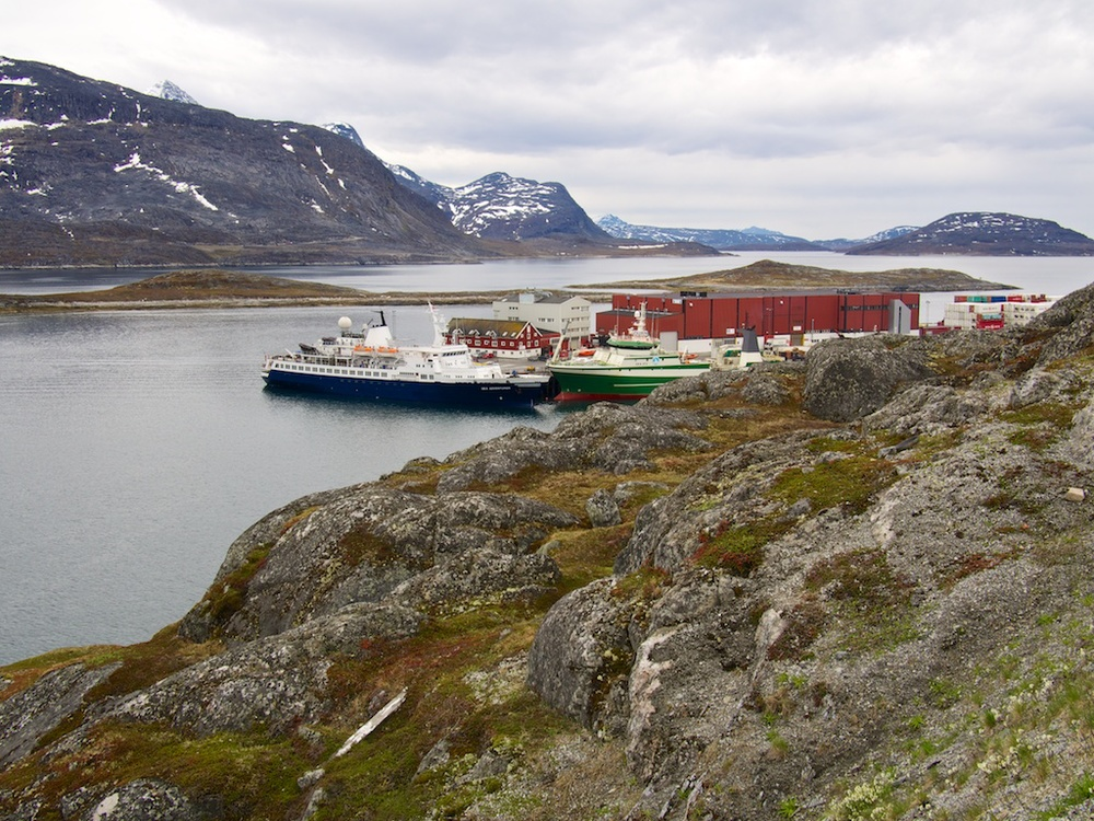 The Sea Adventurer in port in Nuuk, Greenland