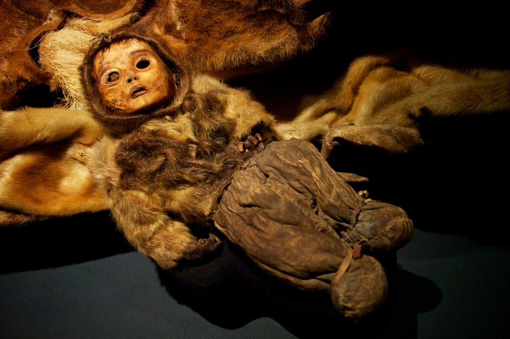 Qilakitsoq mummies at the national museum in Nuuk, Greenland