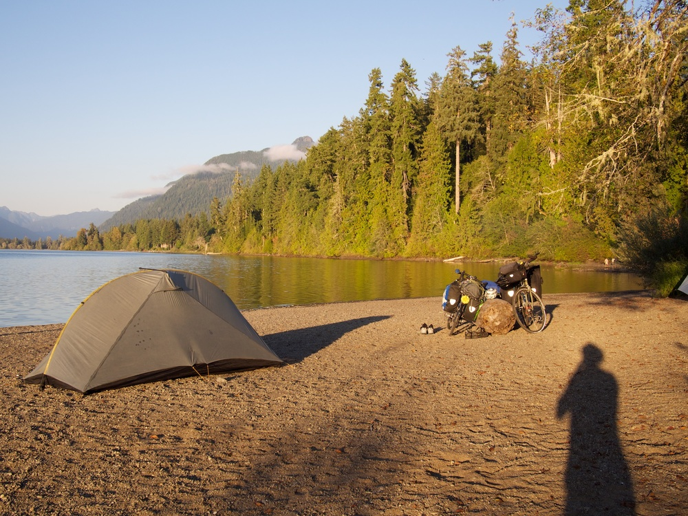 Camping by lake Quinault.