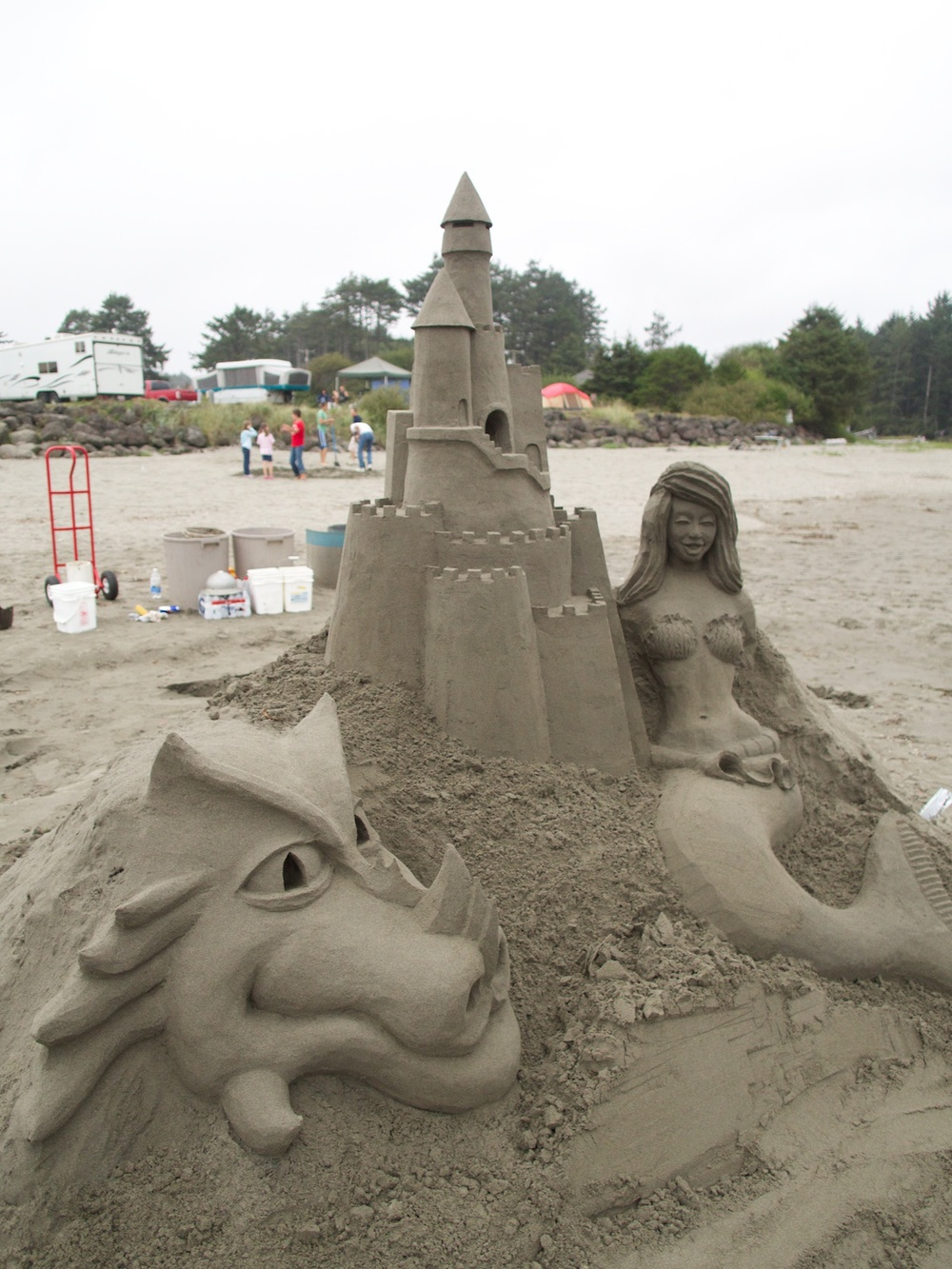 Sand sculptures at Pacific Beach.
