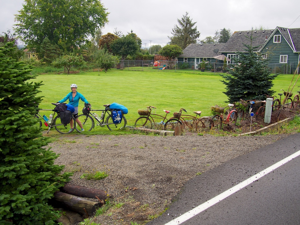 Just adding ourselves to the bike fence just outside Astoria, OR.