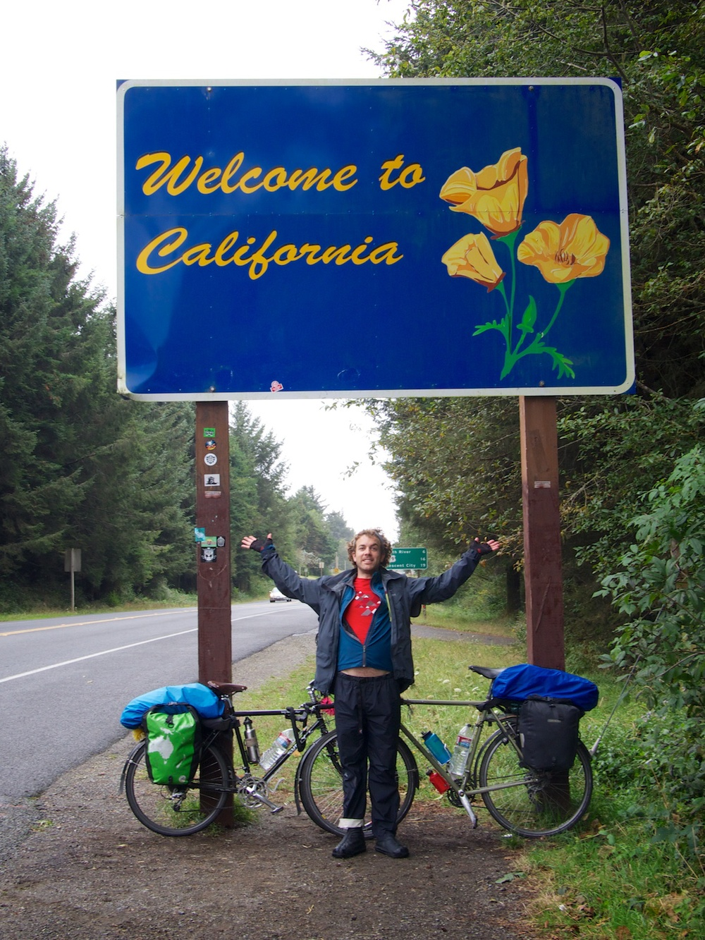 Leaving Oregon, entering California.