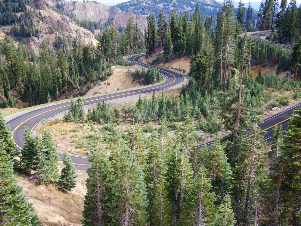 Empty roads thanks to the US government shutdown in Lassen Volcanic National Park.