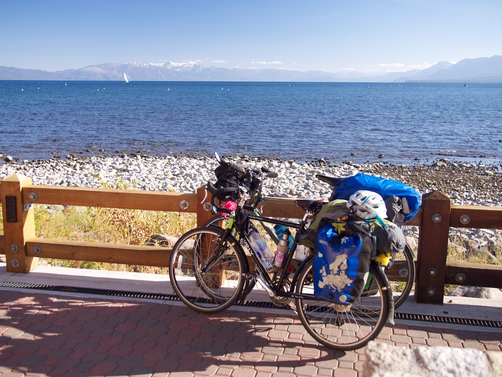 Arriving at the shores of Lake Tahoe after a long 125km ride.