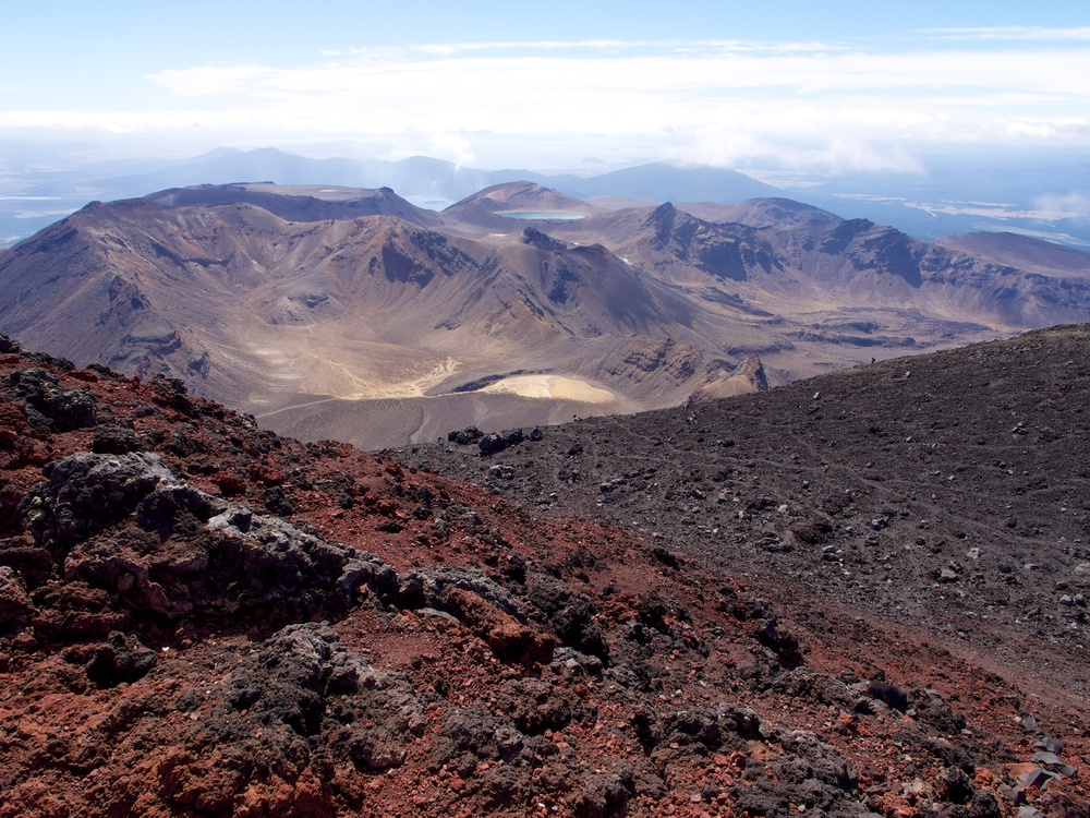 The summit of Mt. Ngauruhoe looking to Mt. Tongariro.