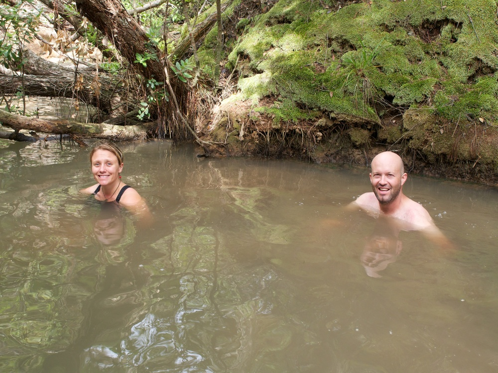 A well earned soak in a natural hot spring