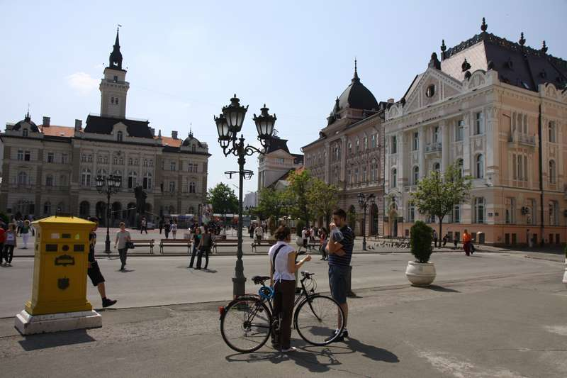 Novi Sad main square looking north