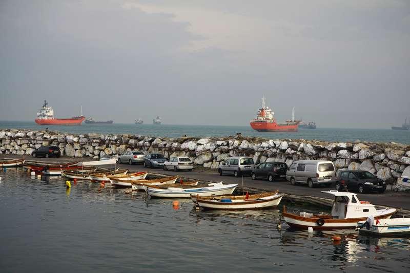 Ships wait to enter the Black Sea through the Boforous.