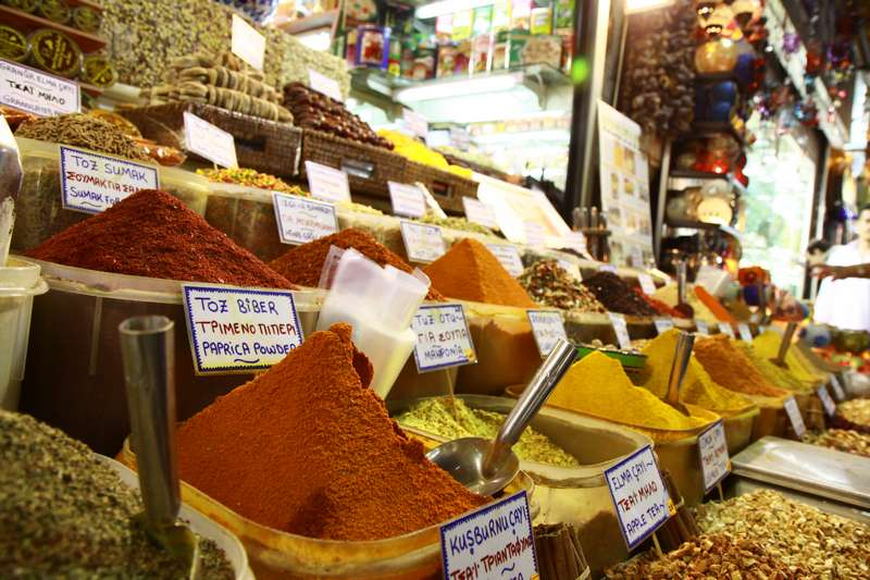 Colourful spices at the spice market.