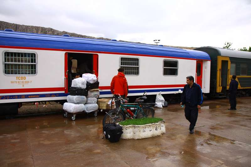 Loading the bikes onto the Oriental Express in Van, Turkey