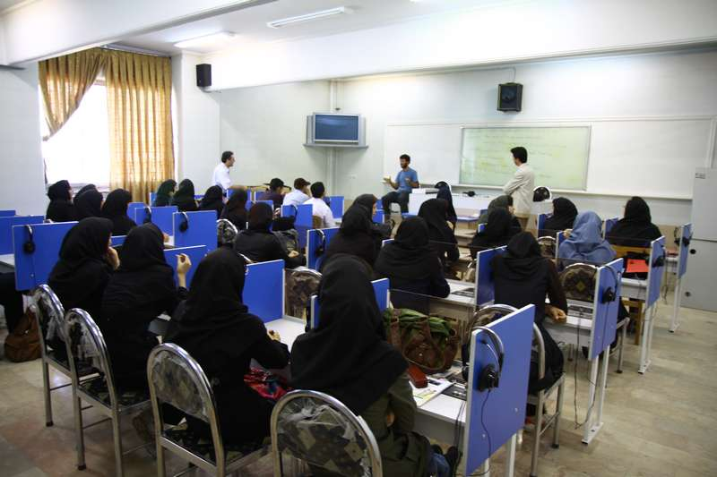 Speaking to an English class at the university in Tabriz
