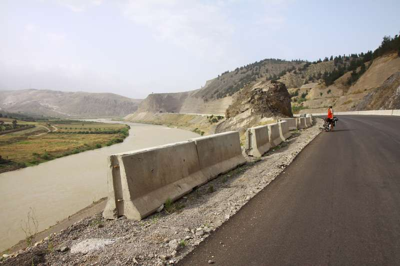 Newly built highway with no traffic, perfect for cycle tourists.