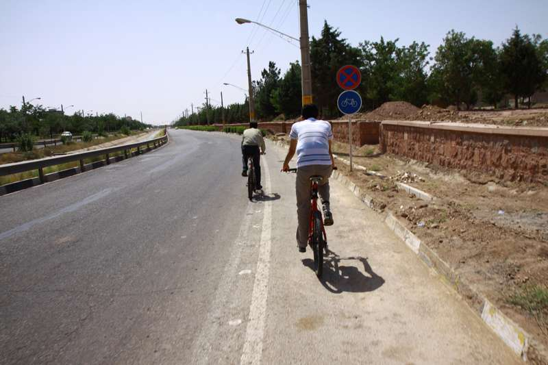 The only cycleway in Iran so far. Cycling is popular in this town. We were escorted by 3 locals.
