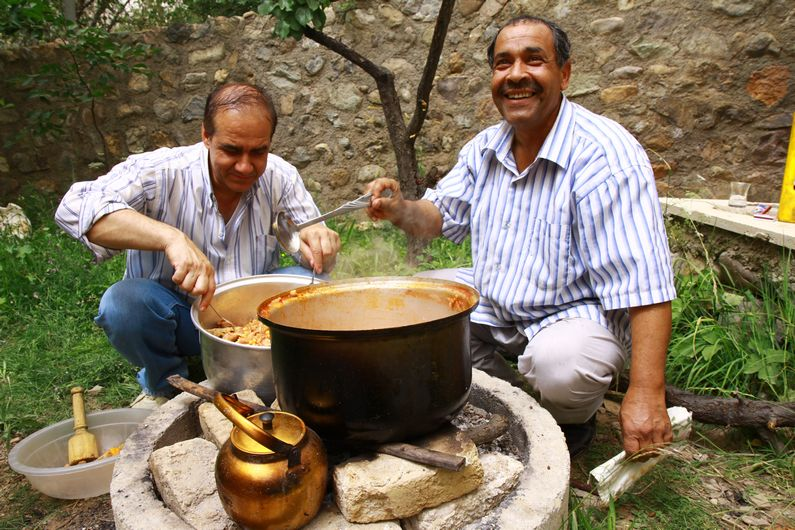 Making family lunch outside Tehran.