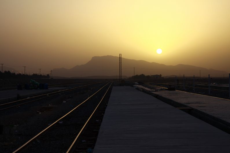 Sunrise from the station in Esfahan.