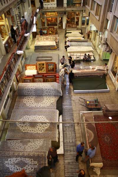 Carpet market in Tehran, Iran.