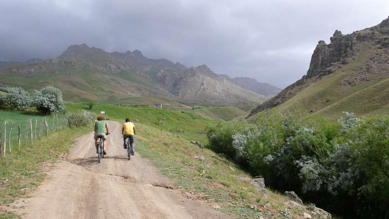 Cycling to the mountains in Van, Turkey