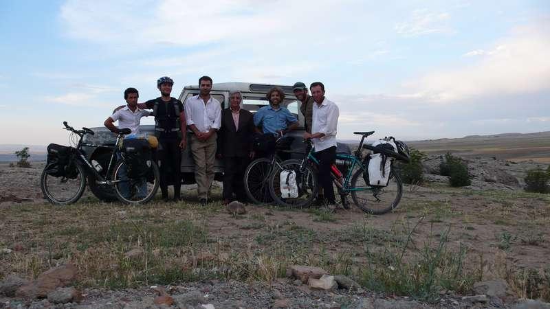 The guys who drove 50 km to bring us dinner near Mechgin, Iran.