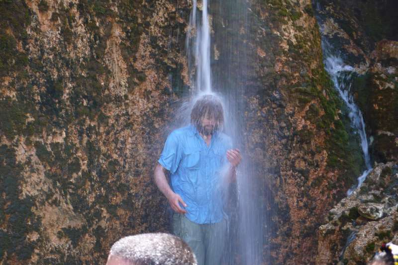 Having a well needed shower in Margon Waterfall, Iran.