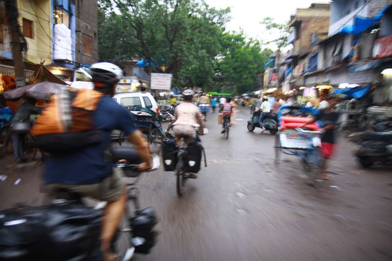 Riding to the bus in Delhi, just before a meter of rain fell.