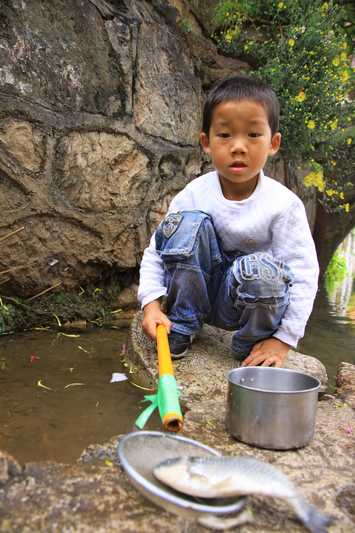 A young boy catching fish in the streams of Lijang.