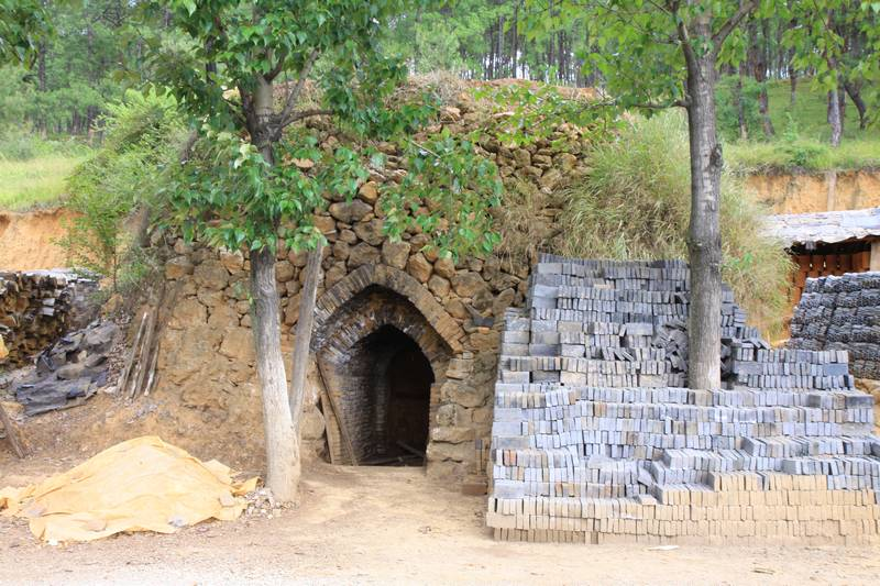 A kiln for firing bricks.