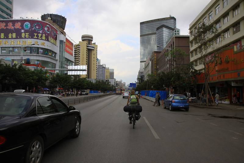 Biking through the massive city of Kunming.