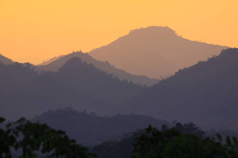 Sunset from the mountain in Luang Prabang.