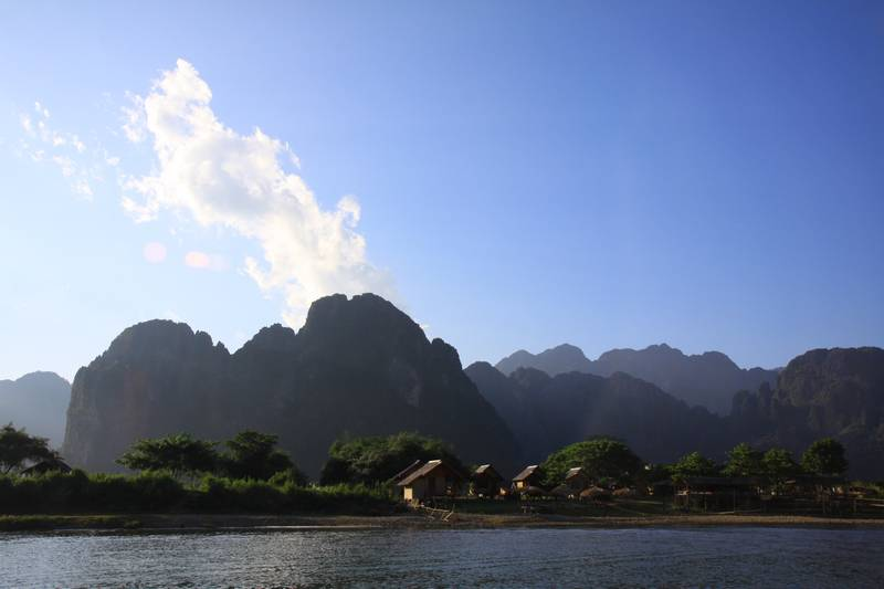 The mountains near Vang Vien