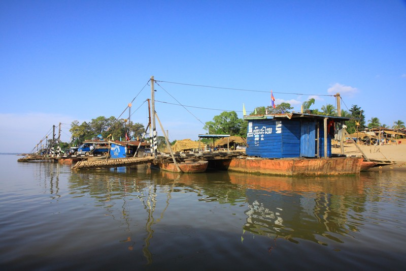 The ferry terminal on the Mekong.