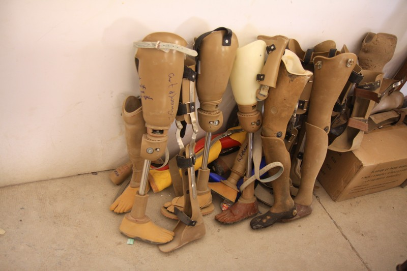 Some of the many prosthetics made by students of the Cambodia Trust.