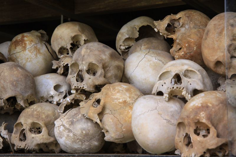 Human remains from the horrors of the Khmer Rouge.