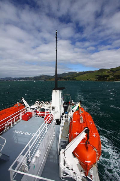 The Otago Peninsula before hitting the big swells of the Southern Ocean.