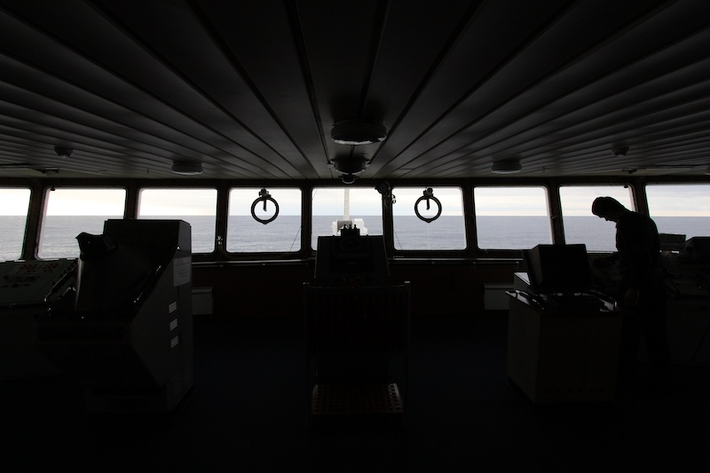 The view from the bridge which was open to all passengers.