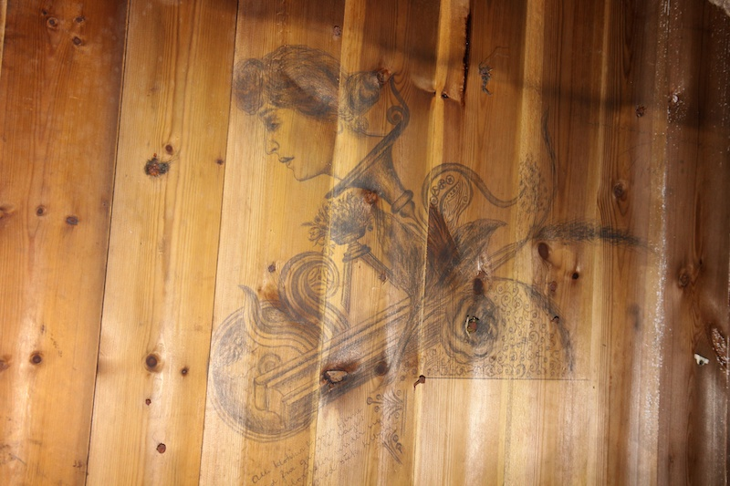 A drawing done by a Norwegian explorer on the bottom of one of the bunks.