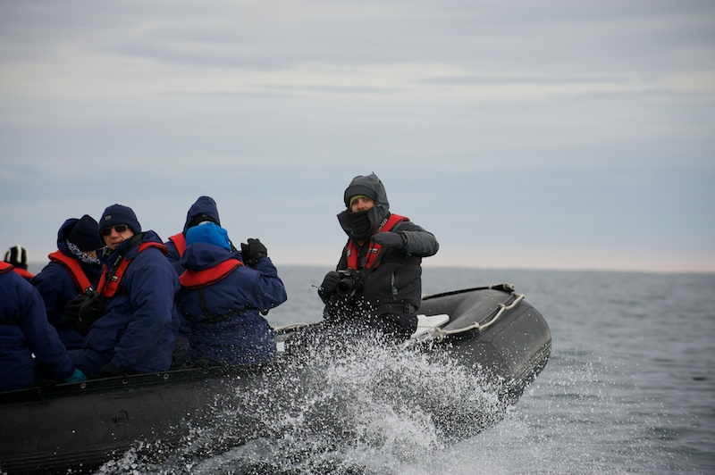 Riding to the edge of the Ross Ice Shelf in the Zodiacs.