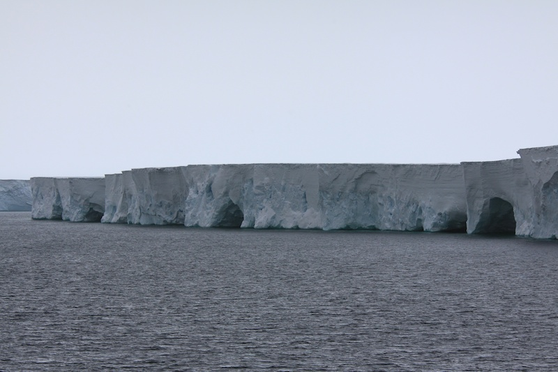 The 40 or 50 m high Drygalski Ice Tongue which goes 350 m below the surface.