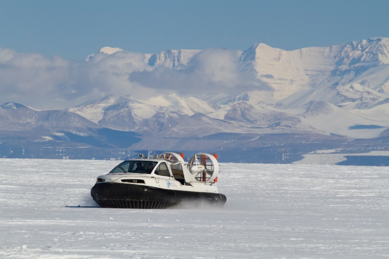 Out driving one of the two hovercraft on the ship on the sea ice.