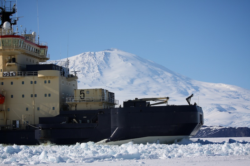 The Swedish icebreaker heading in to McMurdo Station.