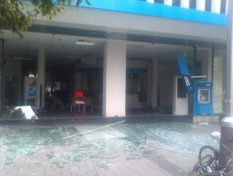 The ANZ bank in the Square as a massive aftershock hit.