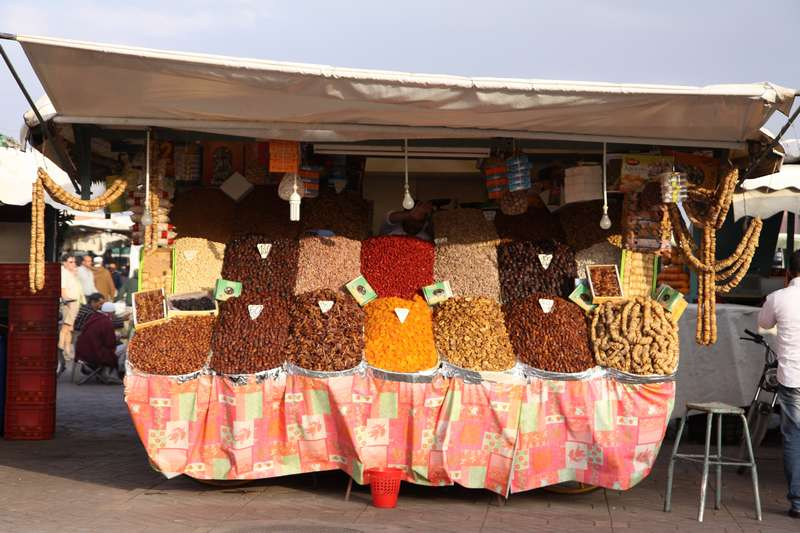 Dried fruit for sale in the square in Marrakech.