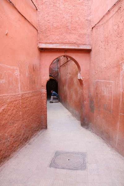 The narrow streets of the Madina in Marrakech. Getting lost isn't optional.