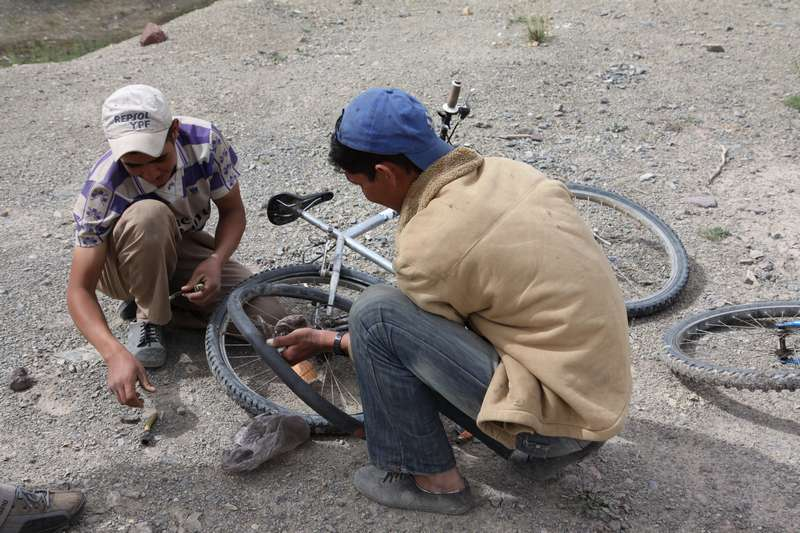 Again helping the locals fix their bikes.