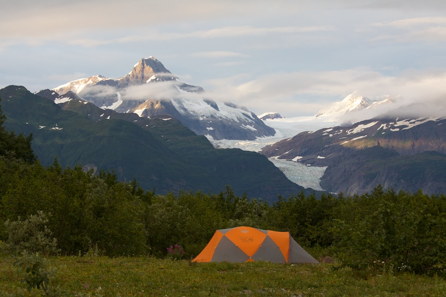 Camping on the shores of Alsek Lake